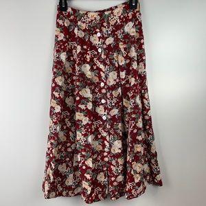 Vintage Jonathan Martin Button-down floral skirt